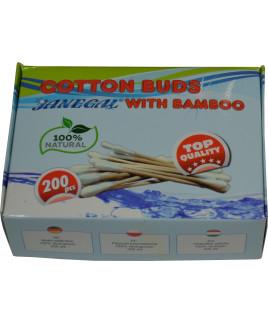 Tyčinky vatové Natural 200ks bambus