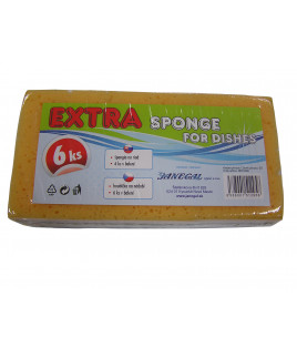 Špongia 6 ks extra 9x6x2,8 cm
